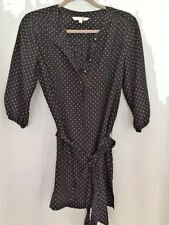 SHADE Black And White Polka Dot Tunic Length Button Placket 3/4 Sleeve M