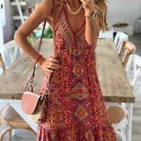 V Neck beach sundress Loose Party summer Cocktail Dress Maxi Dresses Floral