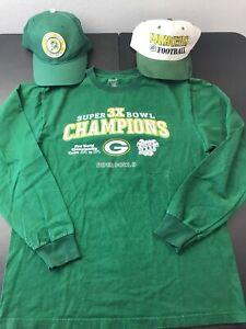 Lot Of Reebok Long Sleeve Short Medium & New Vintage Green Bay Packers Hat Cap 2