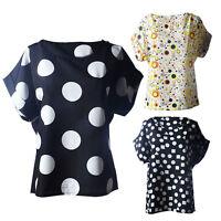 Summer Women Polka Dots Short Sleeve Blouses Tropical Chiffon T-Shirt Tank Tops
