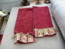2 avanti 100% cotton towels unusual with gold tassels and braid