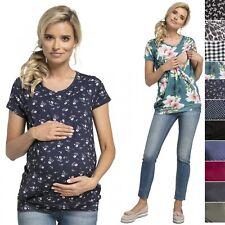 Happy Mama. Women's Maternity T-shirt Nursing Layered Top Short Sleeves. 436p