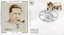 FRANCE FDC - BELGIQUE 2579 1 GEORGES SIMENON - 15 Octobre 1994 - LUXE sur soie