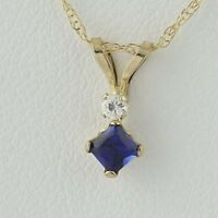 """New Synthetic Blue Sapphire & CZ Pendant Necklace - 10k Yellow Gold 18"""" 0.18ctw"""