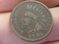 1904 Indian Head Cent Penny, VF/XF Details, Partial LIBERTY
