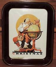 "Vintage 1976 Norman Rockwell Drink Lasser'S Beverages Metal Tray w/Santa 13.25""L"