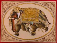 HandPainted Elephant Carved Carving Miniature Painting Art Synthetic Faux Ivory