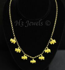 18k yellow gold  puffy elephant charm  necklace #2213 10.40 grams  h3jewels