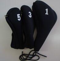 Calibre Neoprene Easy On/Off Wood Head Covers 1-3-5 (350cc #1, 3W, 5W),  Black