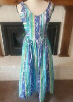 Vintage Malia Honolulu Womens Dress Size 8 Striped Blue Green Fitted V Neck
