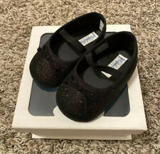 NEW Ralph Lauren Baby Girl Black Sparkle Mary Jane Bow Shoes Size 3 NIB