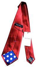 PAUL SMITH cravate en soie - ROUGE - Bleu Pois Doublure - 9cm Blade - TOUT NEUF