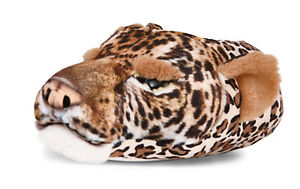 Mens Novelty 3D Leopard Slippers Character Booties Plush Animal Mules Xmas Gift