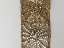 ATTRACTIVE INDIAN JALI GOLD PEARLS CRYSTALS MIRRORS LACE/TRIM - Sold By Metre