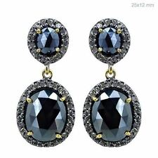 14k Gold 0.85 CT Pave Diamond Spinel Vintage Dangle Earrings 925 Sterling Silver