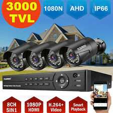 FLOUREON 8CH 1080N CCTV DVR 4x ​3000TVL Outdoor ​Camera Home Security System Kit