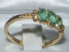 Solid 9ct Yellow Gold Natural Emerald Womens Trilogy Ring - Sizes J to Z
