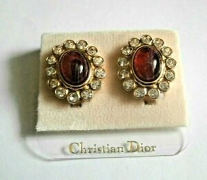 Signed Christian Dior Clip Gold Plated Earrings w/Red Cabochon & Clear Crystals