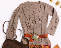 """Celtic Cable &  I-cord Sweater ~ 32"""" - 49""""  ~ DK  Knitting Pattern"""