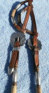 Sterling Silver Ferules Rawhide Buttons Broken Horn Horse Show Headstall