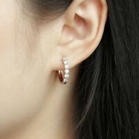 Certified 1.50Ct Round Cut Moissanite Huggie Hoop Earrings Solid 14K White Gold