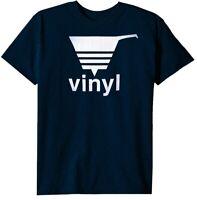 NEW! Men's Short Sleeve Hip-Hop Tee / Classic VINYL Logo - DJ T-Shirt Blue - XL