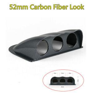 Car Universal Carbon Fiber Look 3 Hole Triple Gauge Meter Mount Holder Pod 52mm