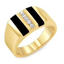 0.15Ct  Men's Round Diamond Black Onyx F-G VS1 Ring 14k Gold Yellow Band SZ 10.5