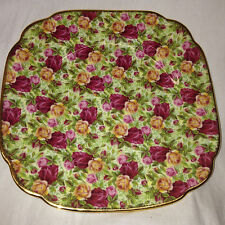 "ROYAL ALBERT 1999 OLD COUNTRY ROSES CHINTZ SQUARE SALAD PLATE 7 3/4"" GOLD TRIM"