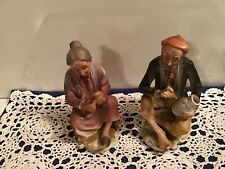 CAPODIMONTE SEATED OLD COUPLE Painting Vase/Peeling Fruit PORCELAIN Figurines