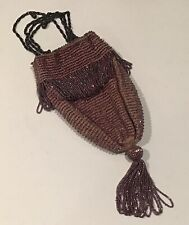 New listing Antique Rose Crochet With Purple Iridescent Beads Lined Flapper Drawstring Purse