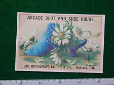 1870s-80s Arcade Boot & Shoe House Shoe Full of Flowers Victorian Trade Card F29