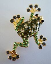 Green Tree Frog Pin Brooch Crystal Rhinestones Gold Tone Metal 1-7/8""
