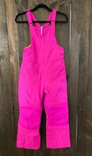 LANDS END Kids Girls Raspberry Pink-Orange Liner STORMER Bib Snow Pants-Size 12