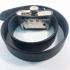 """Royal Flush Belt Buckle Flask 3 Oz Poker Black Leather Belt 36-38"""" Mens L Italy"""