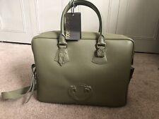 Roberto Cavalli Mens Olive Winged Logo  Leather Zip Handle Briefcase ~RTL$2350