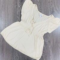 Ann Taylor Loft Blouse V Neck Short Cinched Waist Beige Women's Size S