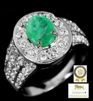 1.4 ct EMERALD STERLING SILVER RING
