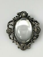 Vintage Art Nouveau Rhinestone Flower Cabochon Brooch Pin Antique Silver Tone