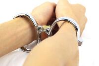 Fetish Slave Game Metal Handcuffs + Lock Hand Fixation Restraint Slave Shackle