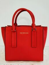 New Michael Kors Alessa MD Pebbled Leather Bright Red Messenger with Crossbody