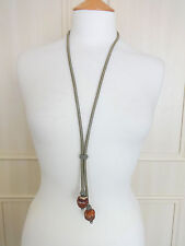 Vintage Lariat style necklace with fluted glass beads