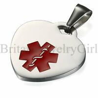 FREE ENGRAVING DIY Stainless Steel Heart Medical Alert ID Tag Pendant Necklace