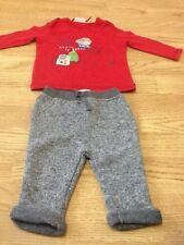 Next Size 3-6 Months Baby Boys Red Santa Top & Grey Pants - Brand New