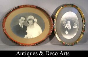 2 Oval Solid Wood Art Deco Photo- Picture Frames