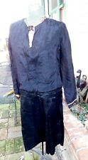 ANTIQUE BLACK SILK ROARING 20'S 1920'S ORG FLAPPER DRESS VERY GATSBY