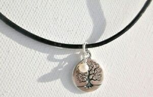 Tree of Life, Freshwater Pearl & Leather Necklace Solid Sterling Silver