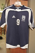 Mens S Navy and White,  Adidas short sleeve jersey/shirt, NUSA #9, Soccer