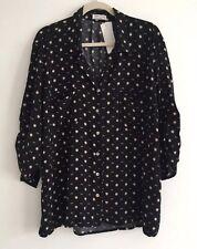 Women Just Living Shirt Sz 1X Plus Top Blouse Black