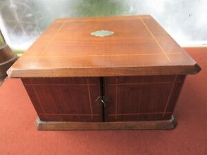 VICTORIAN SATIN WOOD CUTLERY CASE WITH DRAWERS - COLLECTORS CABINET